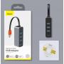 Адаптер USB Baseus Steel Cannon Series USB A - 3xUSB 3.0 + RJ45 HUB Adapter серый (CAHUB-AH0G)